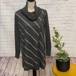 WHBM sweater drape tunic cowl neck diagonal stripe